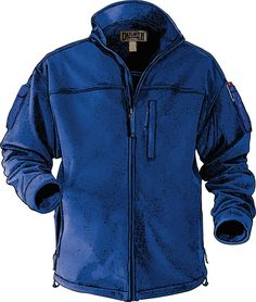 """Shoremen's Fleece Windproof Jacket       3-layer """"soft shell"""" construction with a windproof, water resistant membran between warm fleece layers; Stretchy, breathable and bulk-free for comfort on the job; Armpit Gussets; 7 pockets include left sleeve cell phone pocket; Extended tail for protection when you crouch or climb; Inner storm flap along zipper locks out cold drafts; Cordlock waist seals out updrafts; 10.1 oz.,100% polyester; Temp rated: keeps you warm between 15°F to 30°"""