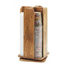 Madera Cup and Lid Organizer Item: 378-99 Organize and dispense your cups and lids environmentally friendly cup and lid dispenser! Constructed of beautiful, one-of-a-kind, reclaimed wood, this piece is unlike any other!
