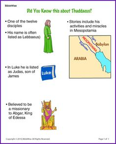 Did You Know this about Thaddaeus (Story) - Kids Korner - BibleWise Sunday School Activities, Bible Activities, Sunday School Lessons, Sunday School Crafts, Bible Story Crafts, Bible School Crafts, Bible Stories, Bible Lessons For Kids, Bible For Kids
