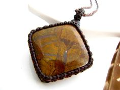 Gift for boyfriend, Petrified Wood,  Healing stones and crystals /  Mens jewelry / For Him / Macrame / Unisex / stone pendant / For Men