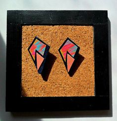 Retro statement earrings leather earrings by TheFormaClay on Etsy