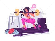 Fitness girl squats with barbell in gym. Vector flat illustration.Vector files, fully editable. Includes AI CS5, EPS 10