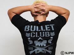 Yujiro Takahashi wearing the new AVIREX Bullet Club t-shirt.