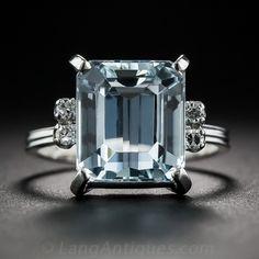 18K White Gold Aquamarine and Diamond Ring - 30-1-7054 - Lang Antiques