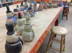 Pinch pot snowmen. Wish there was a link. Double pinch pots with details. Cut out bottom of bigger pot so it dries inside the head. (I've made that mistake before!)