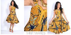 vtg 80s mustard ethnic MONARCH BUTTERFLY global boho hippie FULL skirt dress s