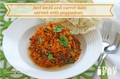 Red lentil and carrot dahl served with poppadum Dahl, Chana Masala, Lentils, Carrots, Vegetarian Recipes, Meals, Dishes, Ethnic Recipes, Red