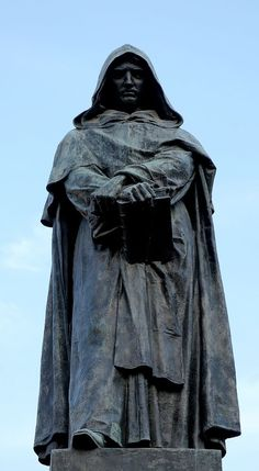 Giordano Bruno. First Martyr of Science. Burnt at the Stake in The Vatican in 1600. The students who commissioned the statue in the 1880s, as an emblem for freedom of thought and the division of church from state, really got their money's worth. http://www.irtiqa-blog.com/2008/09/why-was-giordano-bruno-burnt.html?m=1
