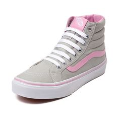 Lace up your laid back look with the Sk8 Hi Slim Skate Shoe from Vans! The Vans Sk8 Hi Slim Skate Sneaker features a hi-top, low profile, design constructed with breathable canvas uppers, and padded ankle for support.