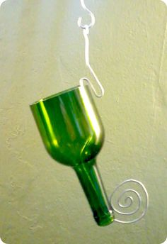Items similar to Hanging planter made from Recycled Wine Bottle on Etsy