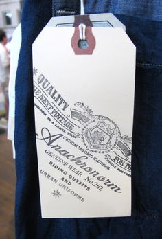 Anachronorm #hangtag Typography Design, Branding Design, Denim Art, Pinterest Design, Swing Tags, Holiday Themes, Tag Design, Clothing Labels, Fashion Labels