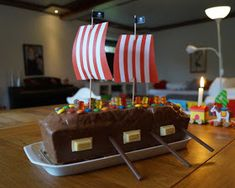 Recipe: Bake pirate ship cake for the children's maritime birthday. A cake … - Kuchen Pirate Ship Cakes, Pirate Birthday, Birthday Cake, Mini Desserts, Popular Recipes, Cooking Time, Kids Meals, Baking Recipes, Birthday Candles