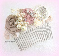Hair Comb Bridal Wedding Fascinator Dusty Rose by SolBijou on Etsy