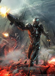 Nothing is better then when Sci-fi crosses paths with fantasy genre! You end up with fantastic movies such as Star Wars, Aliens and Mad Max. Mode Cyberpunk, Cyberpunk Kunst, Futuristic Armour, Futuristic Art, Fantasy Armor, Sci Fi Fantasy, Blade Runner, Aliens, Space Opera