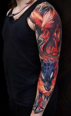 dragon and phoenix - tattoo on hand, ., , dragon and phoenix - tattoo on hand, Feniks Tattoo, Hand Tattoos, Rabe Tattoo, Lion Head Tattoos, Full Tattoo, Flame Tattoos, Body Art Tattoos, Sleeve Tattoos, Tatoos