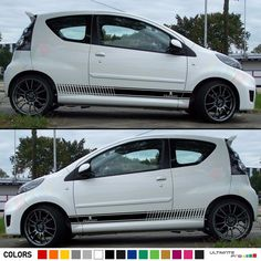 Decal Sticker Stripes Kit For PEUGEOT 107 Spoiler Bumper Exhaust Light Front Lip #Ultimateprocy1 Stripes