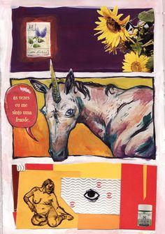 colorful triptique, sunflower, unicorn, naked lady