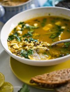 Lemon-Garlic Rice  Lentil Soup