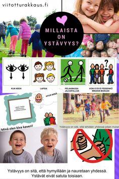 Millaista on ystävyys? Learn Finnish, Pre School, Learning, Kids, Toddlers, Children, Teaching, Education, Studying