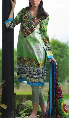 Buy Green Embroidered Cotton Lawn Dress by Mahnoor by Al-Zohaib Embroidered Lawn Collection 2015