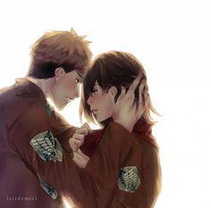 Tags: Anime, Fanart, Shingeki no Kyojin, Jean Kirschstein x Mikasa Ackerman