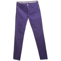 Pre-owned Jeans in purple (£34) ❤ liked on Polyvore featuring jeans, violet, armani collezioni, purple jeans, bib overalls, 5 pocket jeans and overalls jeans