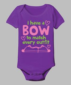 Loving this Purple 'A Bow To Match Every Outfit' Bodysuit - Infant on #zulily! #zulilyfinds