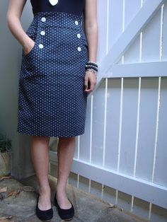 Free Pattern - retro high-waisted skirt (click through to links)