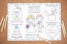 Mit diesem süßen Tischset können Eure kleinen Gäste sich kreativ austoben und Euch eine liebevolle Erinnerung an Euren besonderen Tag hinterlassen. Die Tischsets können am Kindertisch oder an den Gästetischen platziert werden und bleiben mit Sicherheit nicht lange unentdeckt :-) Langeweile ade! http://de.dawanda.com/product/95593115-tischset-fuer-kinder-in-pdf-zur-hochzeit Hochzeitsmalbuch,Malbuch,Malheft,Hochzeit,Kinder,Gastgeschenk