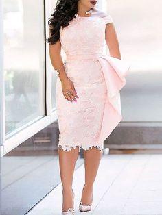 Material: Lace Silhouette: Sheath Dress Length: Knee-Length Sleeve Length: Short Sleeve Sleeve Type: Regular Neckline: Square Neck Combination Type: Single Waist Line: High Waist Closure: Zipper Elasticity: Micro-Elastic Detachable Col African Lace Styles, African Lace Dresses, Latest African Fashion Dresses, African Print Fashion, Africa Fashion, African Prints, Ankara Stil, Lace Dress Styles, Dress Lace