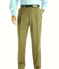 New ZANELLA Mens 111003 Alter Wool Khaki Pleated Dress Slacks Cuffed Pants Sz 38 #Zanella #DressPleat
