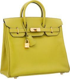 Hermes Special Order 28cm Vert Chartreuse & Blue Jean ChevreLeather HAC Birkin Bag with Gold Hardware. http://www.foryoubest.com