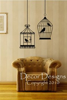 Two Bird Cages Vinyl Wall Decal by DecorDesigns on Etsy, $27.99