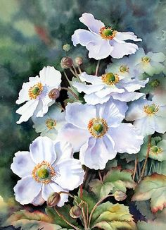 Art of Ann Mortimer - Japanese anemone - nice collection of flowers common to the South