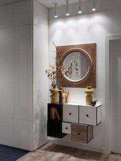 meuble gain de place pour l'entrée, meubles design mural en bois, cube de rangement mural