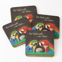 New Will Bullas coasters. Bar Art, Two Birds, Drink Coasters, Cold Drinks, Coaster Set, Parrot, Vibrant, Stone, Cork