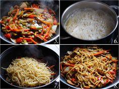 Ingredientes: - 225 gr. de tallarines - Aceite de oliva - 1/2 bubango - 1 zanahoria - 1 cebolla - 1/2 pimiento rojo - 1/2 pimiento verde - 1 lata de champiñones - Salsa de soja oscura - Salsa de soja - Aceite de sésamo Food C, Keto Recipes, Healthy Recipes, Chop Suey, Greens Recipe, Side Dishes, Food Photography, Food Porn, Food And Drink