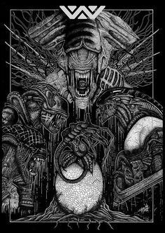 The family that slays together stays together is the motto of the alien brood in the Xenomorph Family Portrait Tribute Print. Artist Arif Rot created this eye Saga Alien, Alien Movie Series, Alien Film, Aliens Movie, Aliens 1986, Alien Vs Predator, Predator Movie, Arte Alien, Alien Art