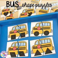 Bus shape puzzles for back to school! Made for preschool, pre-k, and kindergarten. Back To School Highschool, Back To School Quotes, School Week, School 2017, Tot School, High School, Back To School Activities, Preschool Activities, Preschool Shapes