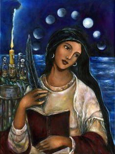 Maria Magdalena La Magda Mary Magdalene art on canvas Maria Gospel Of Mary, Mary Magdalene And Jesus, Arte Latina, Spiritual Paintings, Sacred Feminine, Feminine Energy, Altar Decorations, Original Paintings, Canvas Art