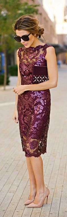 Burgundy Sequins Lace Dress with Beaded Clutch and Nude Patent Heel