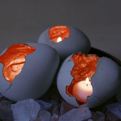 """Dragon Eggs""...These Are So Cute & Easy To Do...Paint Inside Gold & Place A Votive Candle Inside For A Mystical Effect...NOTE: These Are Made By Using Balloons & Cement NOT Concrete Like Directions Say)...Click On Picture For Directions..."
