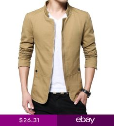 2017 NEW Mens Jacket Slim Fit Collar Cotton Coat Fashion Casual Outwear Jacket Jacket 2017, Vest Jacket, Men Closet, Jacket Style, Men Casual, Mens Fashion, Ebay Clothing, Vests, Clothes