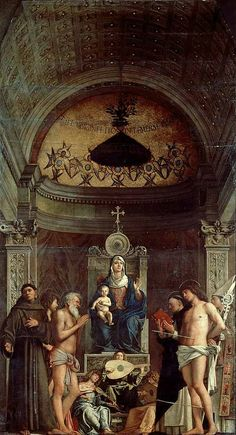 """San Giobbe Altarpiece by BELLINI, Giovanni- painted in 1487 and regarded as one of the finest examples of """"Sacra Conversazione"""" which was central to Venetian art in the century Renaissance Artists, Renaissance Paintings, Italian Renaissance, Madonna, Andrea Mantegna, Giovanni Bellini, St Sebastian, European Paintings, Historical Art"""