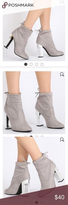 PUBLIC DESIRE BOOTIES Never worn. Perfect condition. Ties in the back, clear heel. public desire Shoes Ankle Boots & Booties