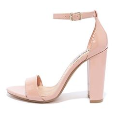 Steve Madden Carrson Blush Patent Ankle Strap Heels (1.205.285 IDR) ❤ liked on Polyvore featuring shoes, pumps, heels, beige, steve madden pumps, ankle tie shoes, steve madden footwear, beige ankle strap pumps and ankle strap shoes