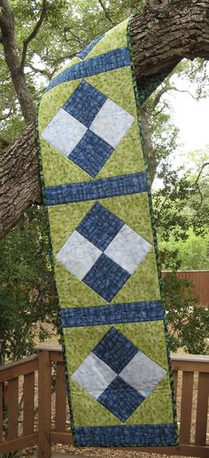 Table Runner Blue Green & Batik Quilted Cotton by SolanoArts, $45.00