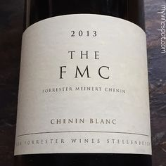 """Ken Forrester 2013 FMC (SRP $65): South Africa has the most Chenin Blanc plantings in the world and Ken Forrester crafts several nice examples. In fact, their vineyards are often referred to as the """"Home of Chenin Blanc."""" FMC is their flagship bottling ... South African Wine, Chenin Blanc, Wine Reviews, My Glass, Some People, Wines, Bottle, Crafts, White Wines"""