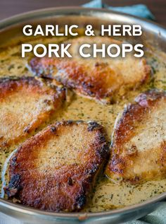 Garlic and herb pork chops make such an easy dinner Pork Recipes, Gourmet Recipes, Dinner Recipes, Cooking Recipes, Healthy Recipes, Quick Pork Chop Recipes, Recipies, Healthy Foods, Biscotti