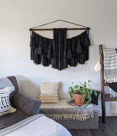 Large macrame wall hangings by UpTheWallflower Large Macrame Wall Hanging, Yarn Wall Hanging, Wall Hangings, Yarn Color Combinations, Acrylic Wool, Yarn Colors, Large Wall Art, Wool Yarn, Black Cotton